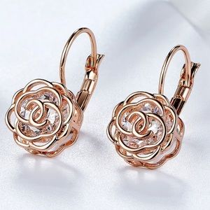 CZ Stone & Rose Gold Mini Drop Earrings